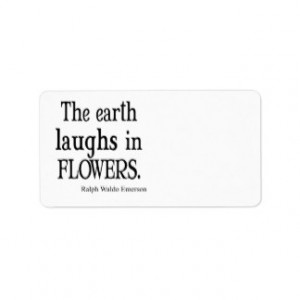 Vintage Emerson The Earth Laughs in Flowers Quote Custom Address ...