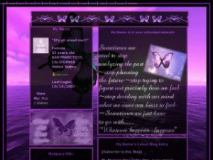 Purple Butterfly - Purple Butterfly Quotes MySpace Layout Preview