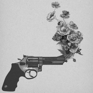 black and white, flowers, gun, peace