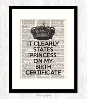 CROWN Wall Decor, Princess Birth Certificate Quote, Funny Quote ...