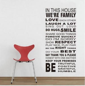 We-are-Family-In-This-House-Wall-Sticker-inspirational-quote-Art-decal ...
