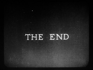 black and white, quote, the end