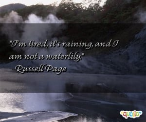 tired , it's raining , and I am not a waterlily .