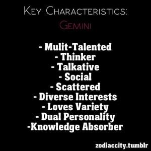 True characteristics of a Gemini