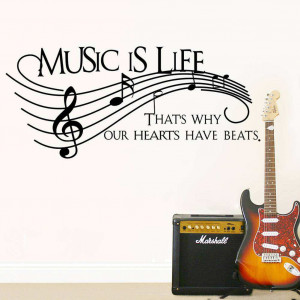 ... : Home » Shop » Bedroom » Music is life Wall Quote Stickers Decals