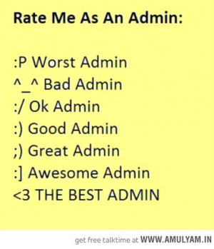 Rate Me As An Admin Rate me as an admin