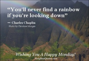 Monday Good Morning quotes, Charles Chaplin quotes, rainbow quotes