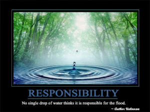 Responsibility No single drop of water thinks it is responsible for ...