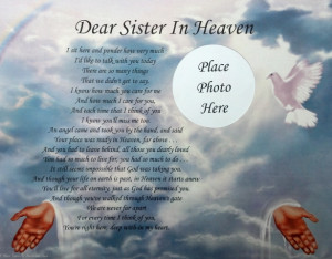 Details about DEAR SISTER IN HEAVEN MEMORIAL POEM . .IN LOVING MEMORY