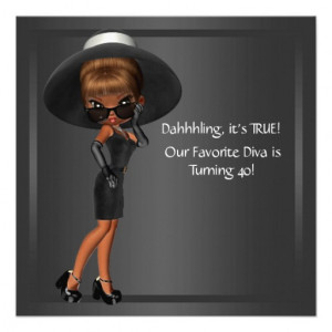 ... Favourite Diva Womans Black 40th Birthday Part Custom Announcements