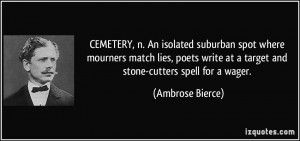 CEMETERY, n. An isolated suburban spot where mourners match lies ...