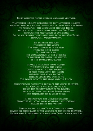 The Emerald Tablet of Thoth/Hermes/Ammon/Mercury etc