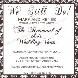 vow renewal invitation you choose the color vow renewal invitation