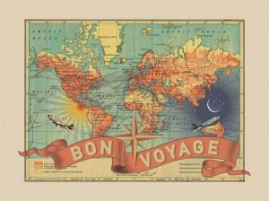 Bon Voyage Map Print on Bourbonandboots.com