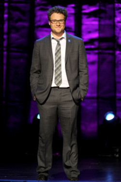 Seth Rogen speaks onstage at Comedy Central's night of too many stars