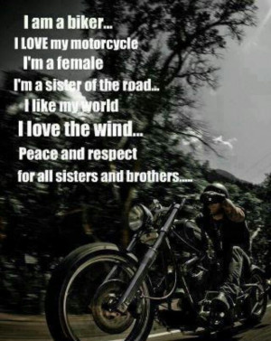 am a sister of the road. Ride on!