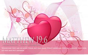 Bible Verse On Love Marriage Matthew 19:6 Heart HD Wallpaper