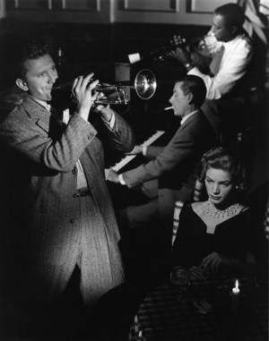 Lauren Bacall with Kirk Douglas and Hoagy Carmichael in
