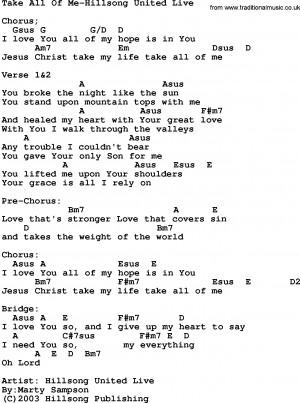 All Of Me Lyrics Gospel song: take all of