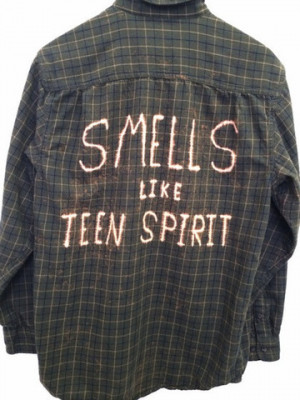 ... Teen Spirit Quote Shirt in Plaid Green Flannel - Nirvana Lyric Shirt