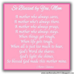 Me and Mom - A Mothers day Poem 2013