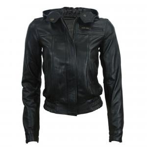Black Leather Hooded Bomber Jacket