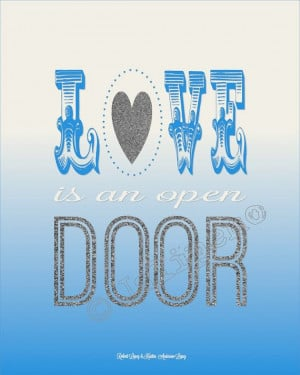 Love is an Open Door - Disney Frozen Quote INSTANT DOWNLOAD PRINTABLE ...