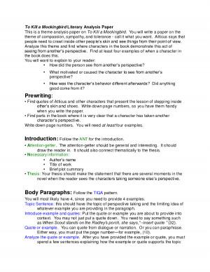 Literary Analysis Essay For To Kill A Mockingbird