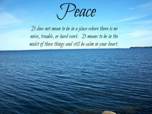 peace we must act peace and live in peace nothing can bring you peace ...