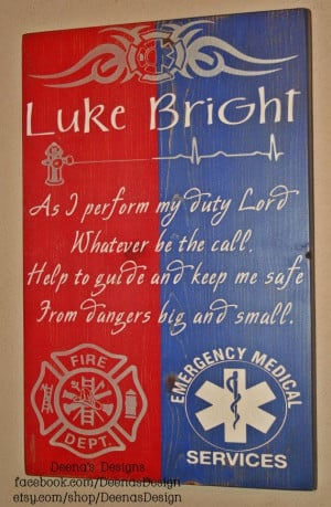 Firefighter/EMS Hybrid Wall Art, Firefighter/EMS Decor, Distressed ...