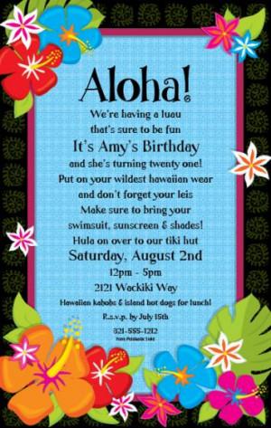 Hawaiian Hibiscus Party Invitations