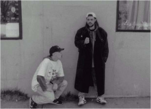 above: a still from Clerks featuring Jason Mewes (Silent Bob) and ...