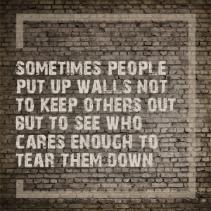 Sometimes People Put Up Walls Not To Keep Others Out, But To See Who ...