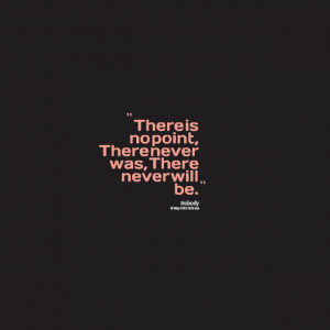Quotes Picture: there is no point, there never was, there never will ...