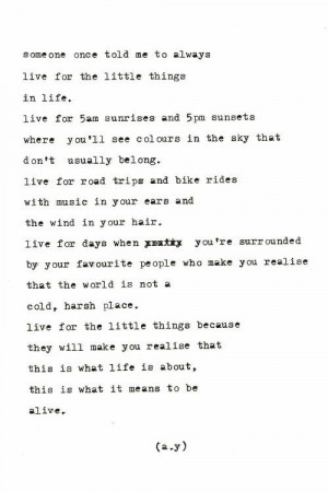 Live for the little things in life… www.dutchessroz.com #quote #poem ...
