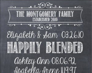 ... Family SIgn 16x24 Chalkboard Modern Design Gallery Wrapped Blended