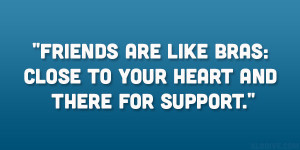 ... Friends are like bras: close to your heart and there for support