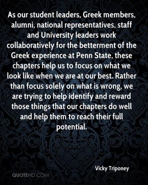 As our student leaders, Greek members, alumni, national ...