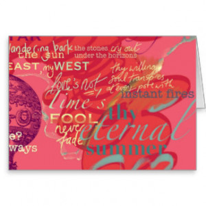 Pink Shakespeare Love Quotes Birthday Card