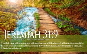Bible Verse Love Jeremiah 31:9 River Landscape Christian Wallpaper