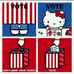 kitty says vote more hellokitty election2012 election politics voting ...