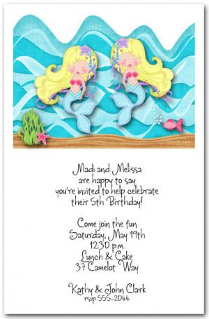 ... Birthday Invitations Girls Birthday Invitations Twin Mermaids Blonde