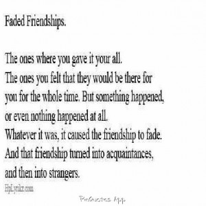 Faded Friendships