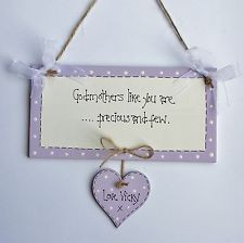 ... personalised Gift Chic Heart Plaque Godmother Christening Any Name