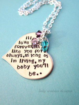 ll Love You Forever Book Quote Heart Handstamped Necklace ...