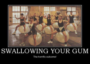 funny swallowing chewing gum gym women picture caption photo joke