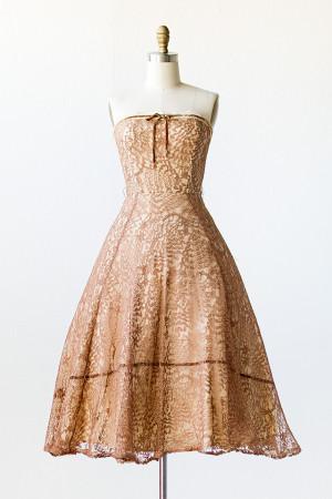 Brown Vintage Lace Dresses