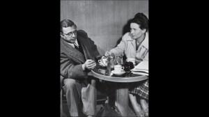 Philosopher Writer Jean Paul Sartre and Simone de Beauvoir Taking Tea ...