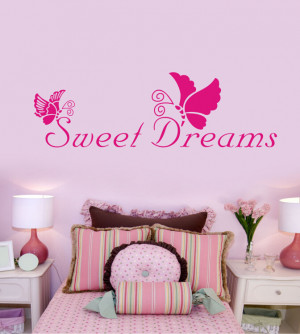 Free Shipping Sweet Dreams Romantic Vinyl Quotes Living Room Wall ...