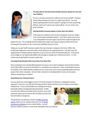 ... to Get Economical Health Insurance Quotes for You and Your Children